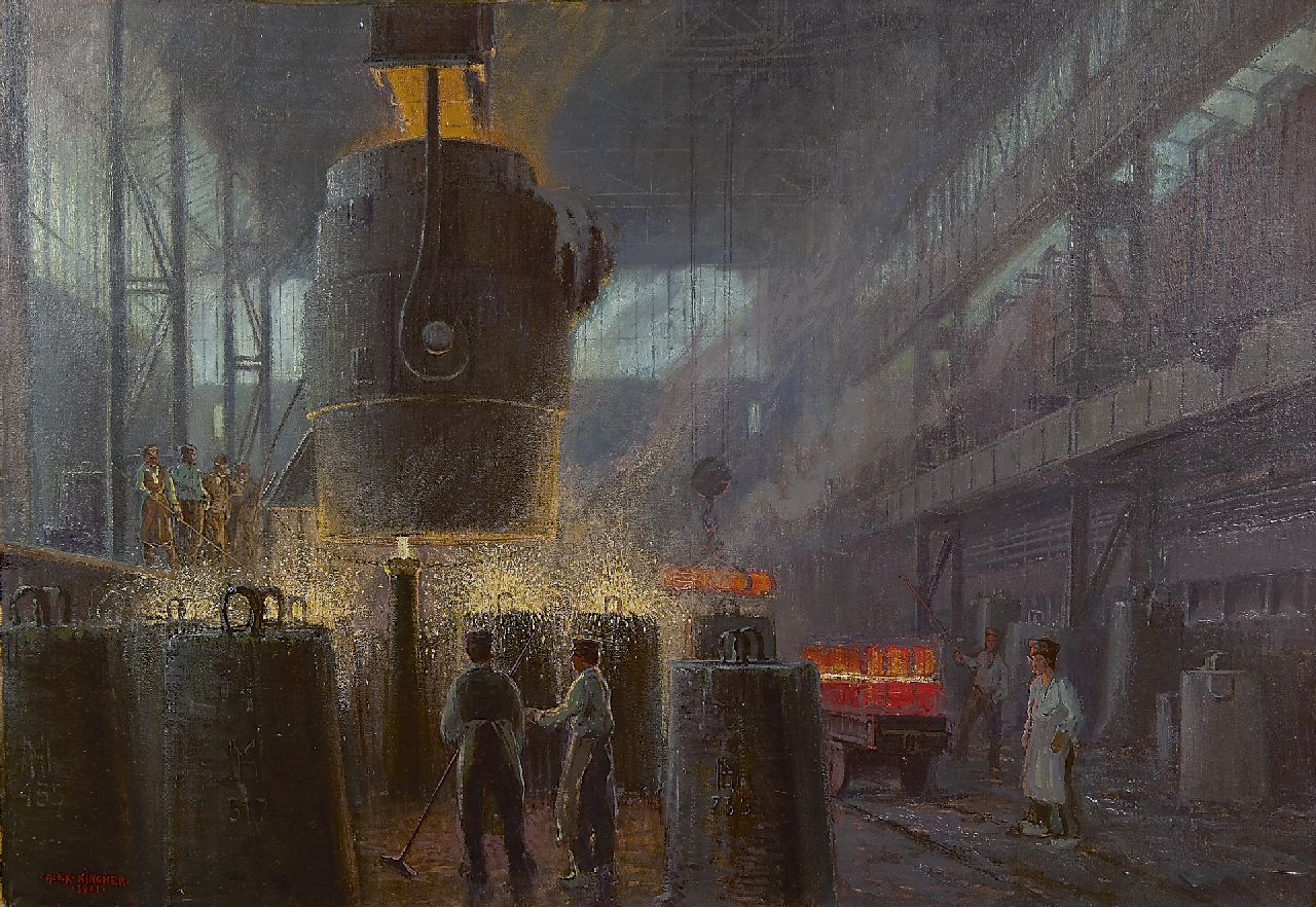 Alexander Kircher | Near the blast furnace, oil on canvas, 80.3 x 115.0 cm, signed l.l. and dated 1921