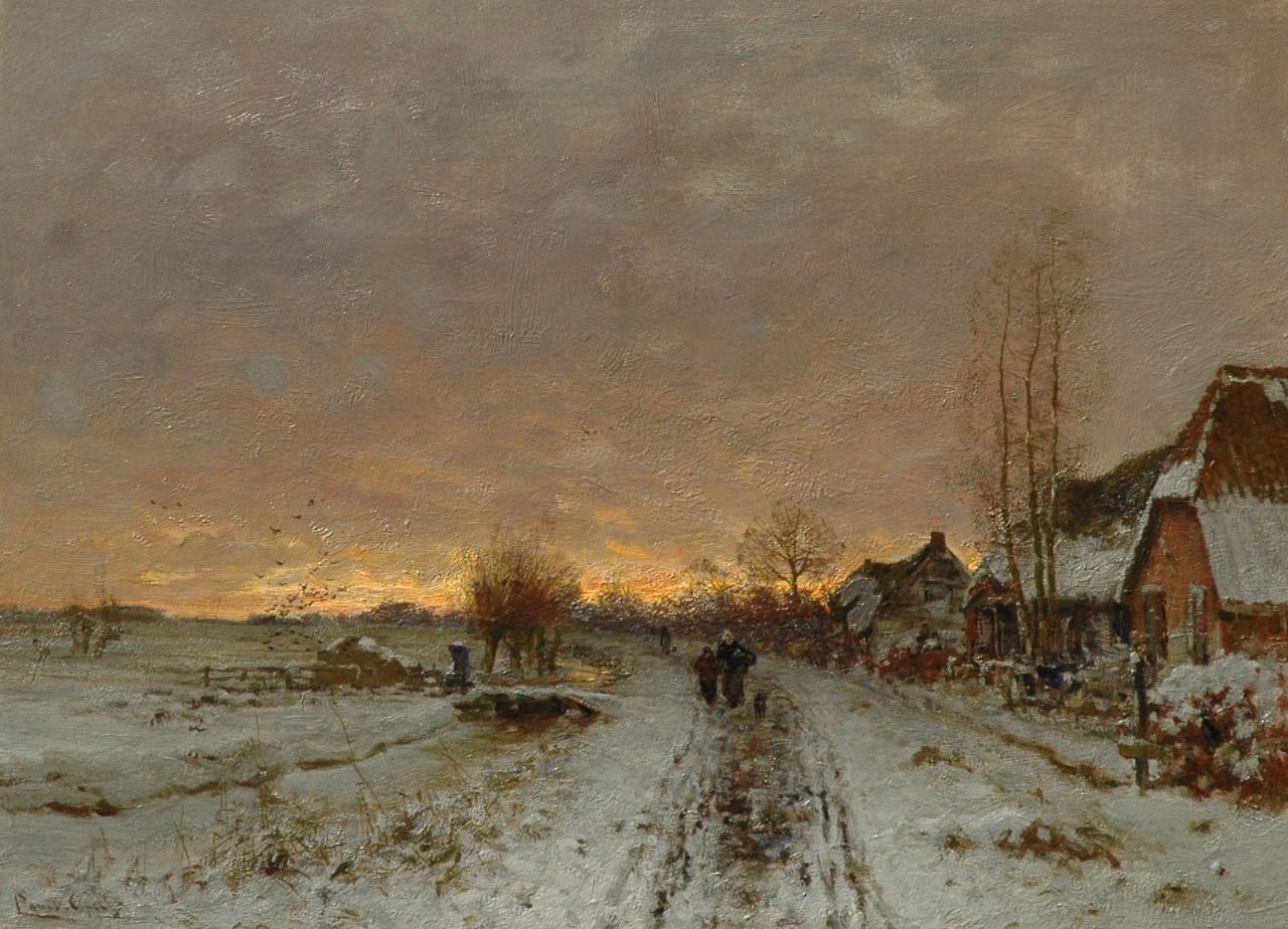 Apol L.F.H.  | Lodewijk Franciscus Hendrik 'Louis' Apol, Snowy village path at sunset, oil on canvas 49.2 x 66.8 cm, signed l.l.