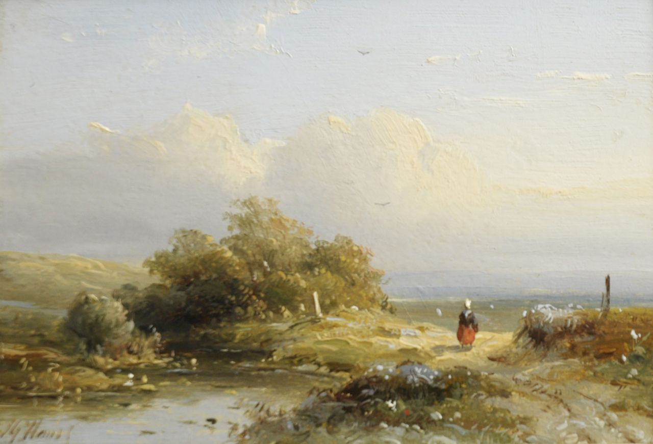 Hans J.G.  | Josephus Gerardus Hans, A summer landscape, oil on panel 10.5 x 14.9 cm, signed l.r.