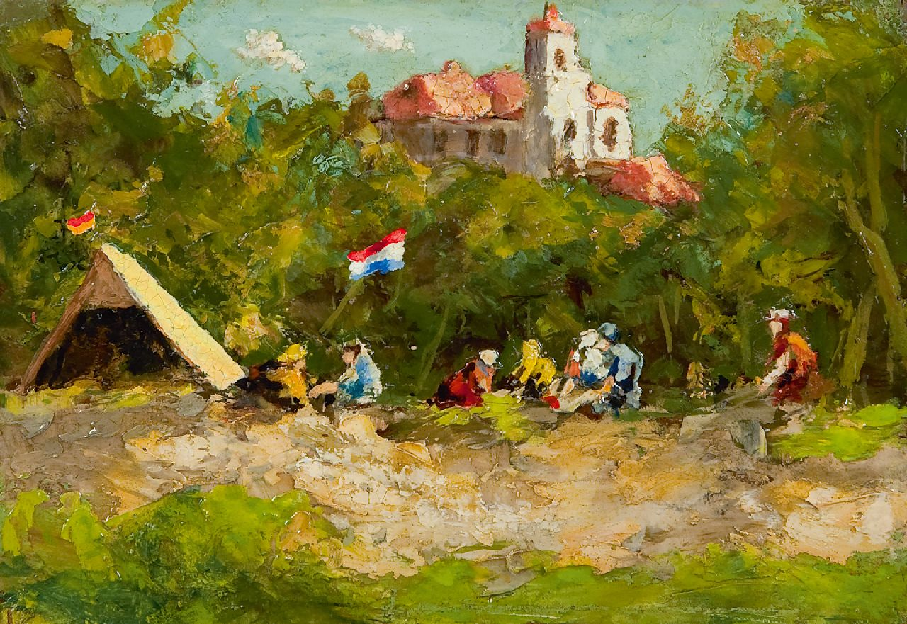 Zwiers P.R.  | Pieter Roelof 'Piet' Zwiers | Paintings offered for sale | Camping, oil on board 12.0 x 17.5 cm