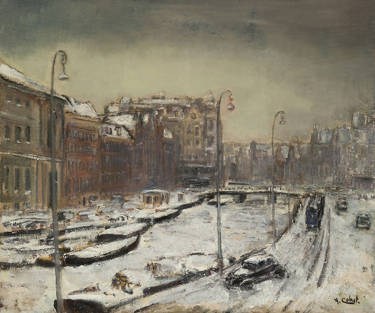 Colnot A.J.G.  | 'Arnout' Jacobus Gustaaf Colnot, The Rokin, Amsterdam, in winter, oil on canvas 55.1 x 65.0 cm, signed l.r.