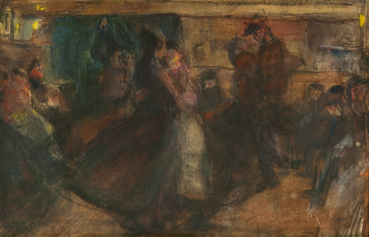 Israels I.L.  | 'Isaac' Lazarus Israels | Watercolours and drawings offered for sale | Dance hall on the Zeedijk, pastel on paper 35.5 x 54.0 cm, signed l.r. and painted ca. 1892-1893