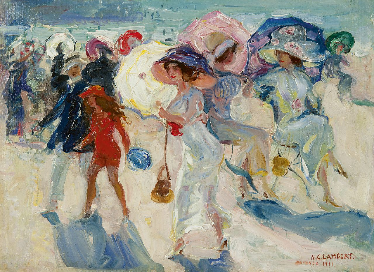Camille Lambert | La Promenade, Ostende, oil on canvas, 35.2 x 47.4 cm, signed l.r. and dated 'Ostende 1911'