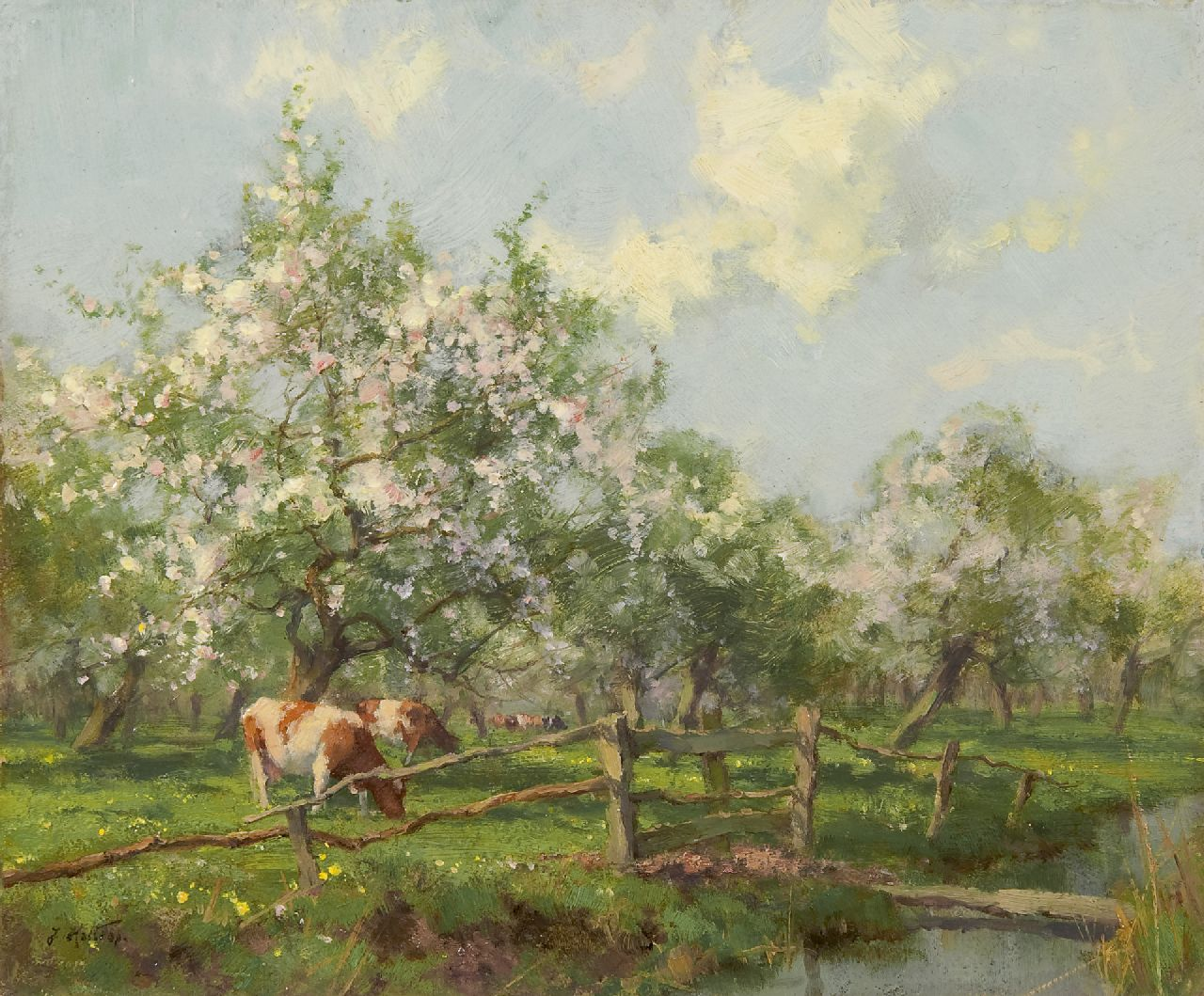 Holtrup J.  | Jan Holtrup, A flowering orchard near Bunnik, oil on panel 19.4 x 23.1 cm, signed l.l.