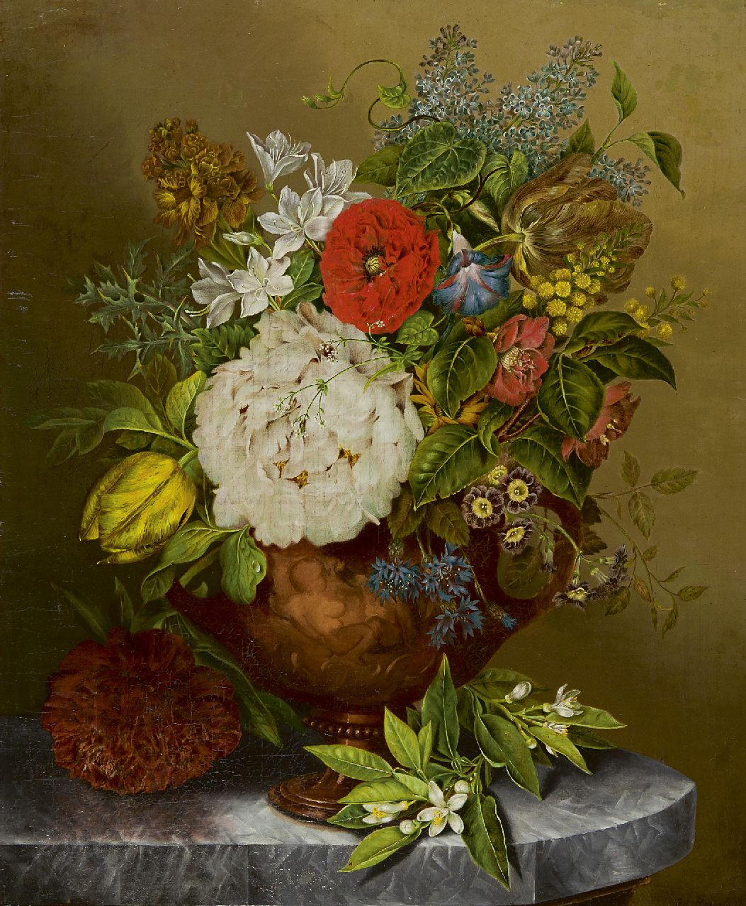 Elisabeth Iosetta Hoopstad | A flower still life in a terracotta vase, oil on canvas, 59.5 x 48.4 cm, signed l.r.