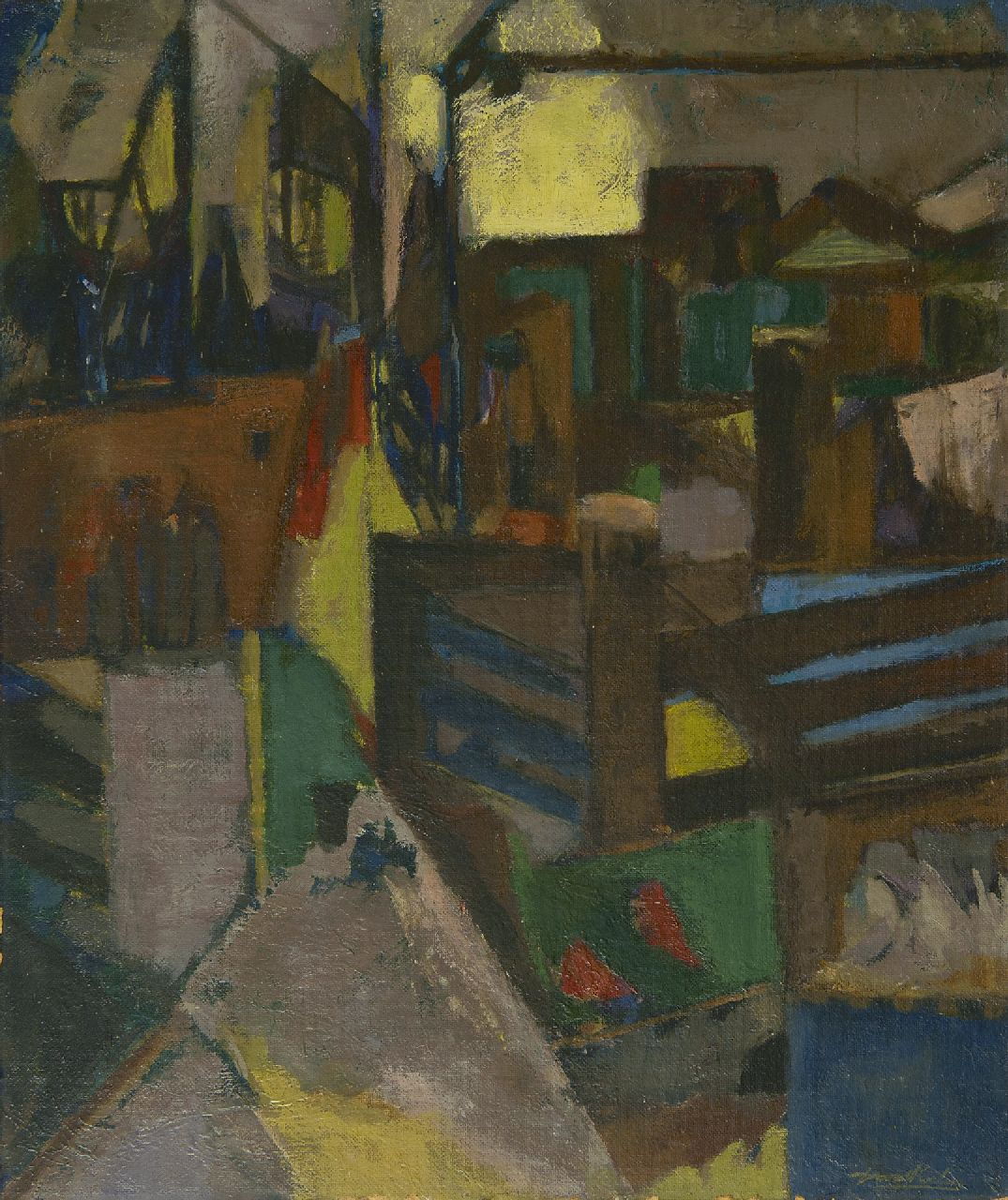 Gerard Koelen | Rooftop view, oil on board, 70.3 x 59.2 cm, signed l.r.