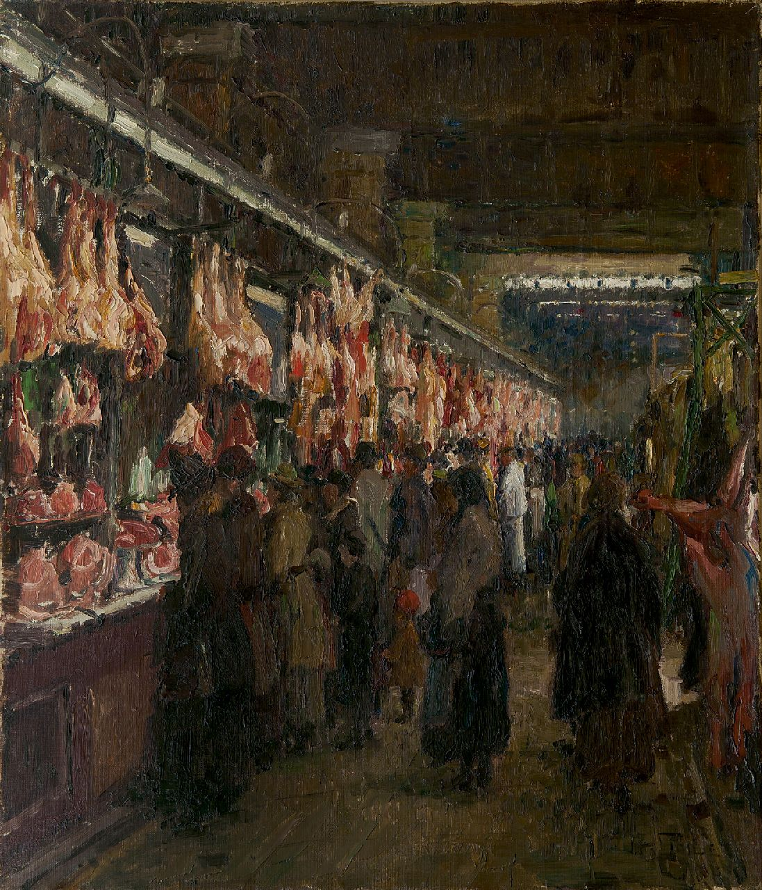 Otto Thiele | Meat hall, oil on canvas, 70.4 x 60.4 cm, signed l.r.