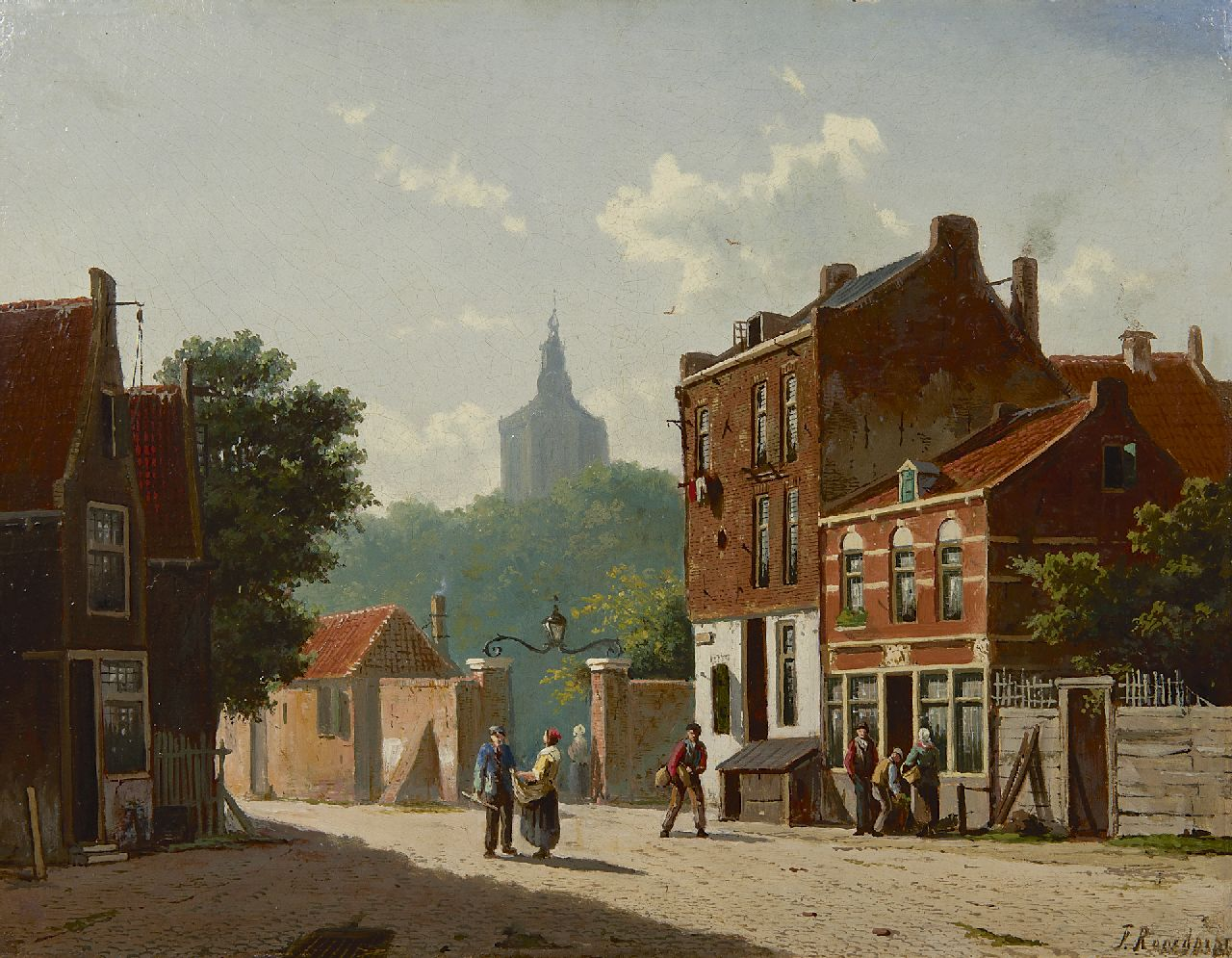 Roosdorp F.  | Frederik Roosdorp | Paintings offered for sale | A Dutch street scene with the tower of the Grote Kerk of The Hague, oil on panel 28.0 x 37.0 cm, signed l.r.
