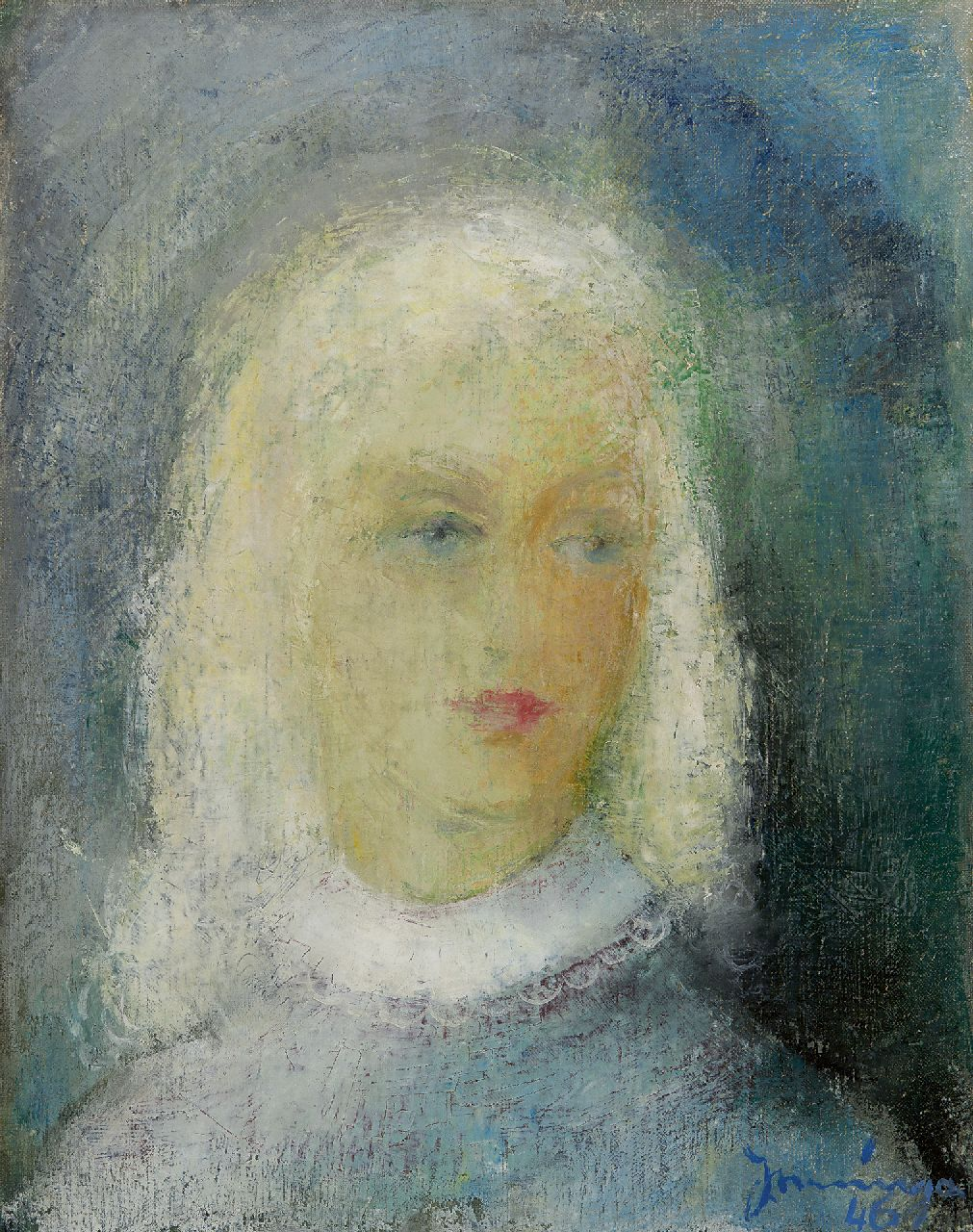 Nanninga J.  | Jacob 'Jaap' Nanninga, A portrait of a girl, oil on canvas 50.9 x 39.8 cm, signed l.r. and dated '46