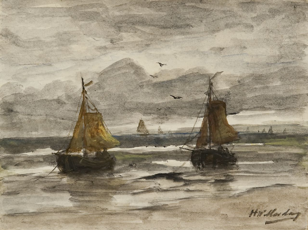 Mesdag H.W.  | Hendrik Willem Mesdag, Two fishing barges at anchor in the surf, watercolour on paper 18.1 x 24.1 cm, signed l.r.