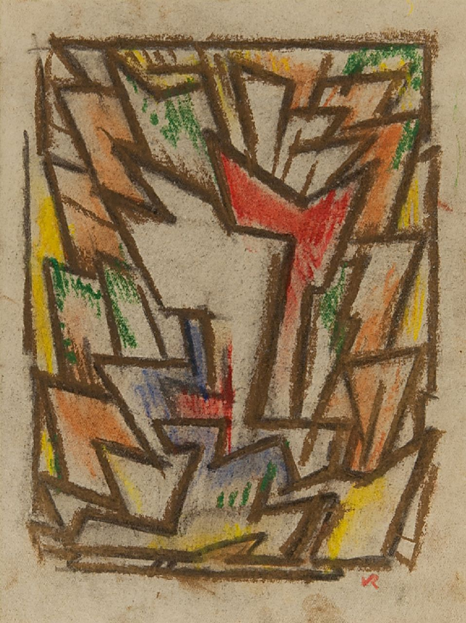 Rees O. van | Otto van Rees | Watercolours and drawings offered for sale | Composition, chalk on paper 17.5 x 14.5 cm, signed l.r. with monogram