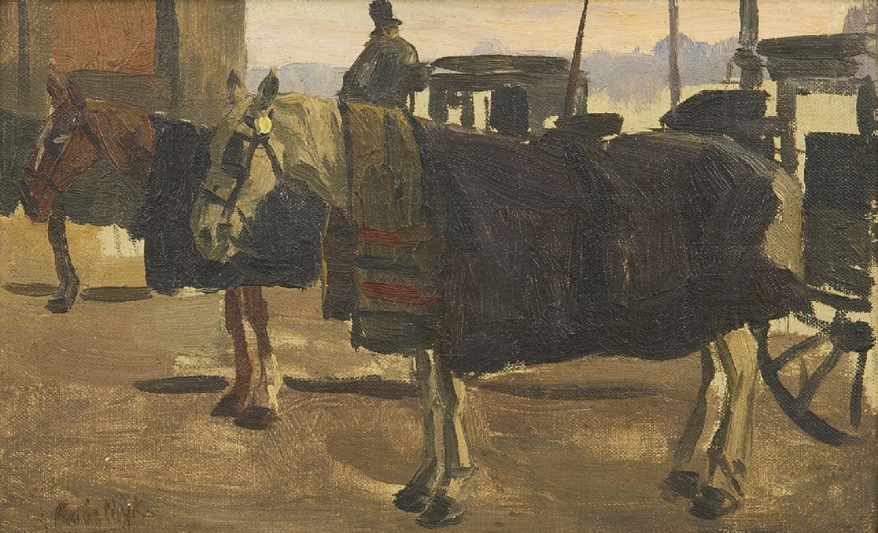 Bobeldijk F.  | Felicien Bobeldijk | Paintings offered for sale | 'Amsterdamse Aapjes' (carriages), oil on canvas laid down on board 13.4 x 21.3 cm, signed l.l.