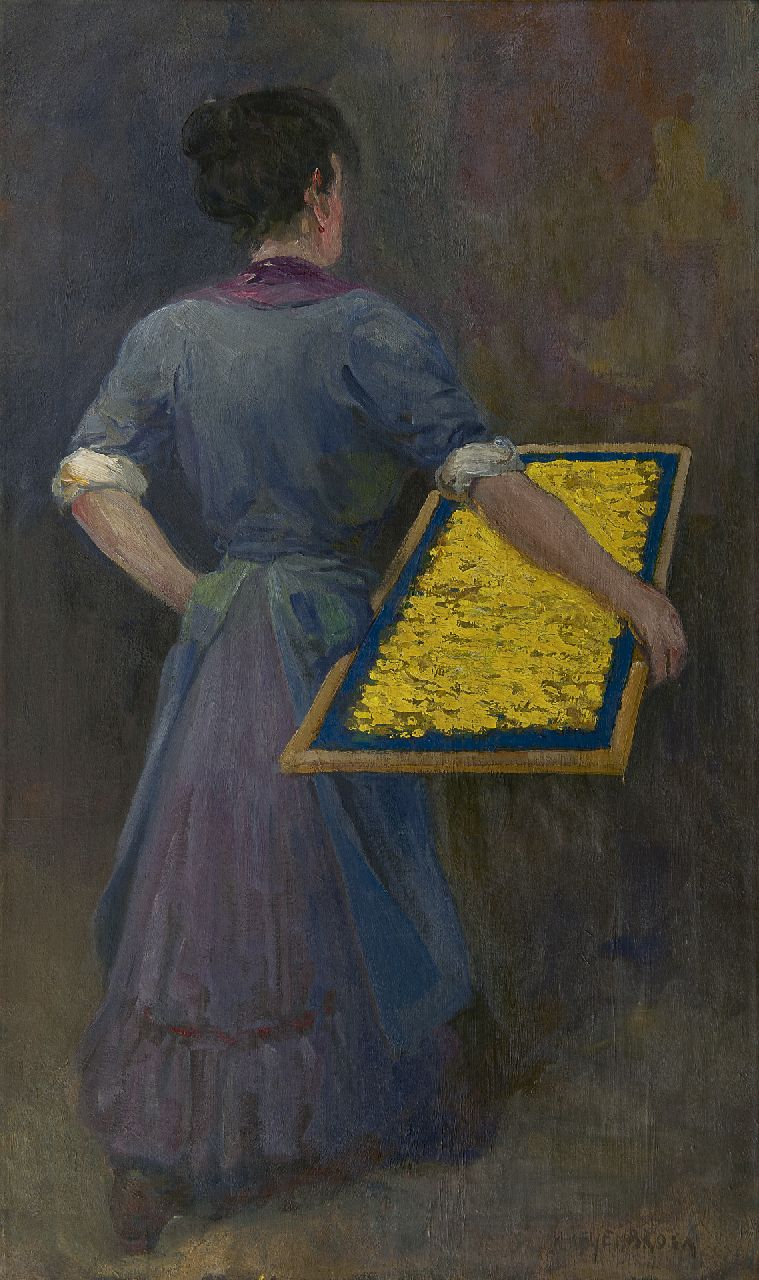 Heijenbrock J.C.H.  | Johan Coenraad Hermann 'Herman' Heijenbrock, Worker in a vermicelli factory, oil on canvas 95.4 x 56.4 cm, signed l.r.