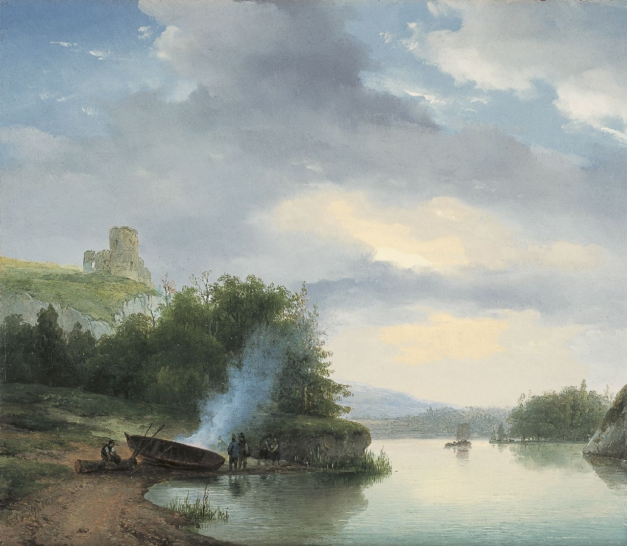 Schelfhout A.  | Andreas Schelfhout | Paintings offered for sale | A hilly river landscape with a ruin, oil on panel 32.9 x 38.2 cm, signed l.l. and painted mid '20