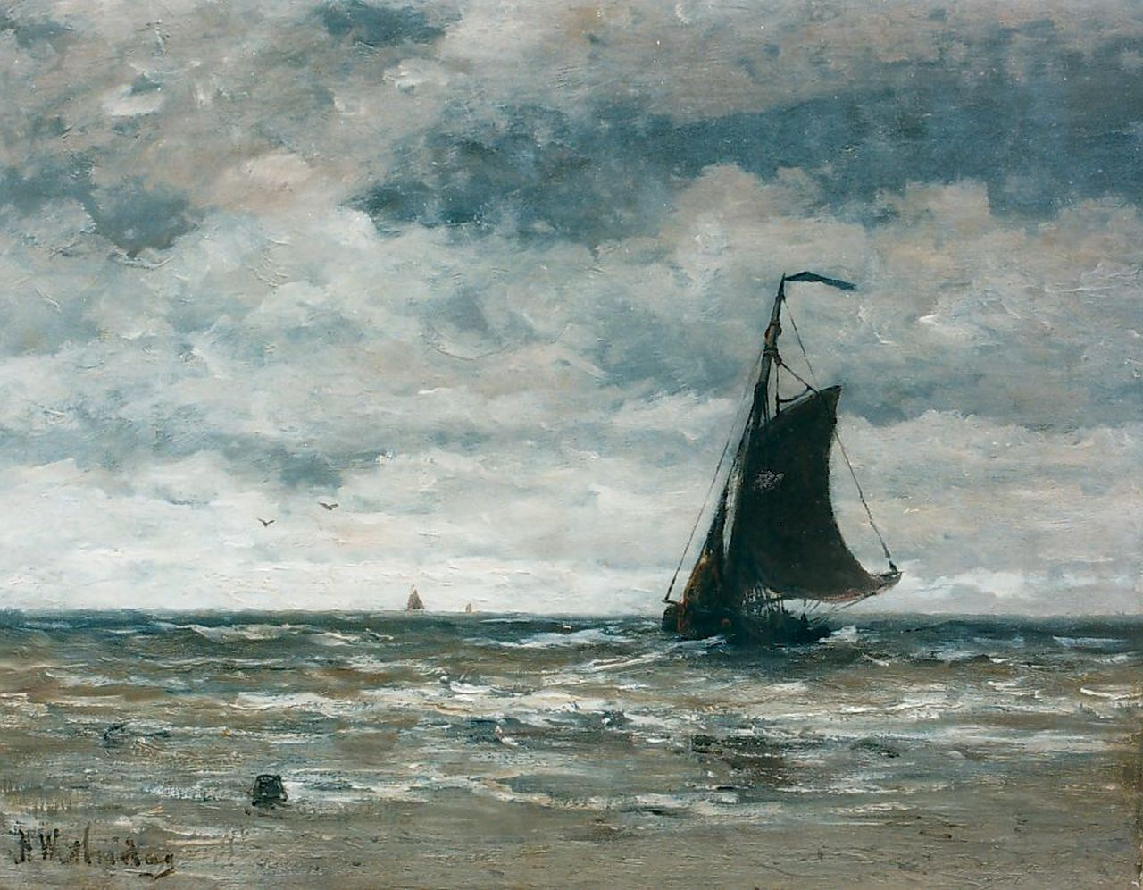 Mesdag H.W.  | Hendrik Willem Mesdag, A 'Bomschuit' in the surf, oil on canvas 40.0 x 51.0 cm, signed l.l.