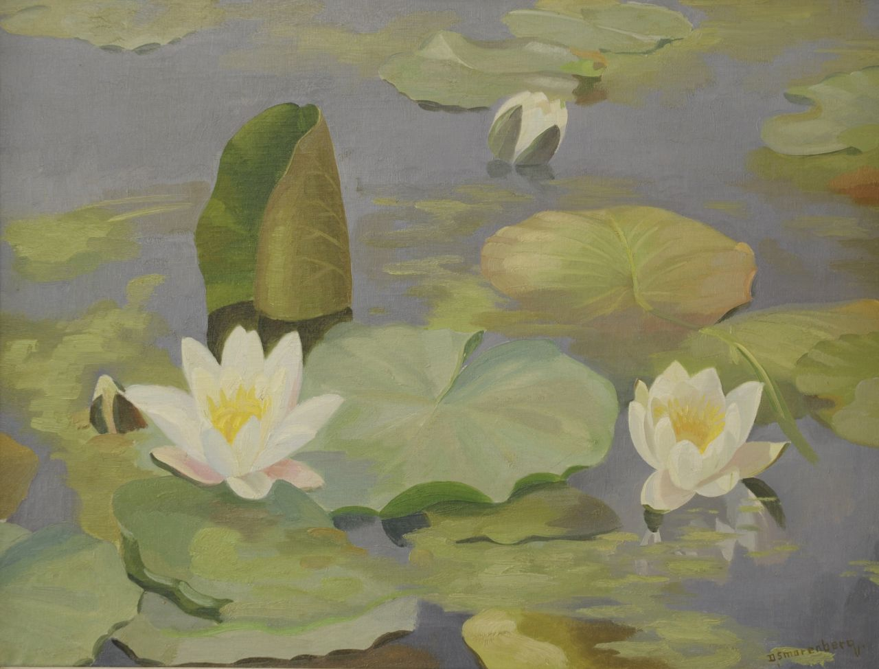 Smorenberg D.  | Dirk Smorenberg | Paintings offered for sale | Water Lilies, oil on panel 45.0 x 60.0 cm, signed l.r.