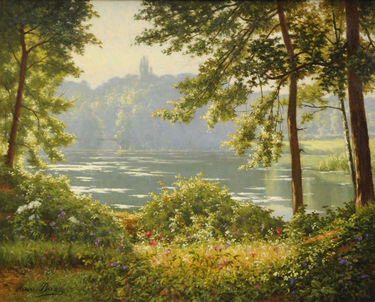 Henri Biva | Daybreak at the lake, oil on canvas, 65.5 x 81.3 cm, signed l.l.