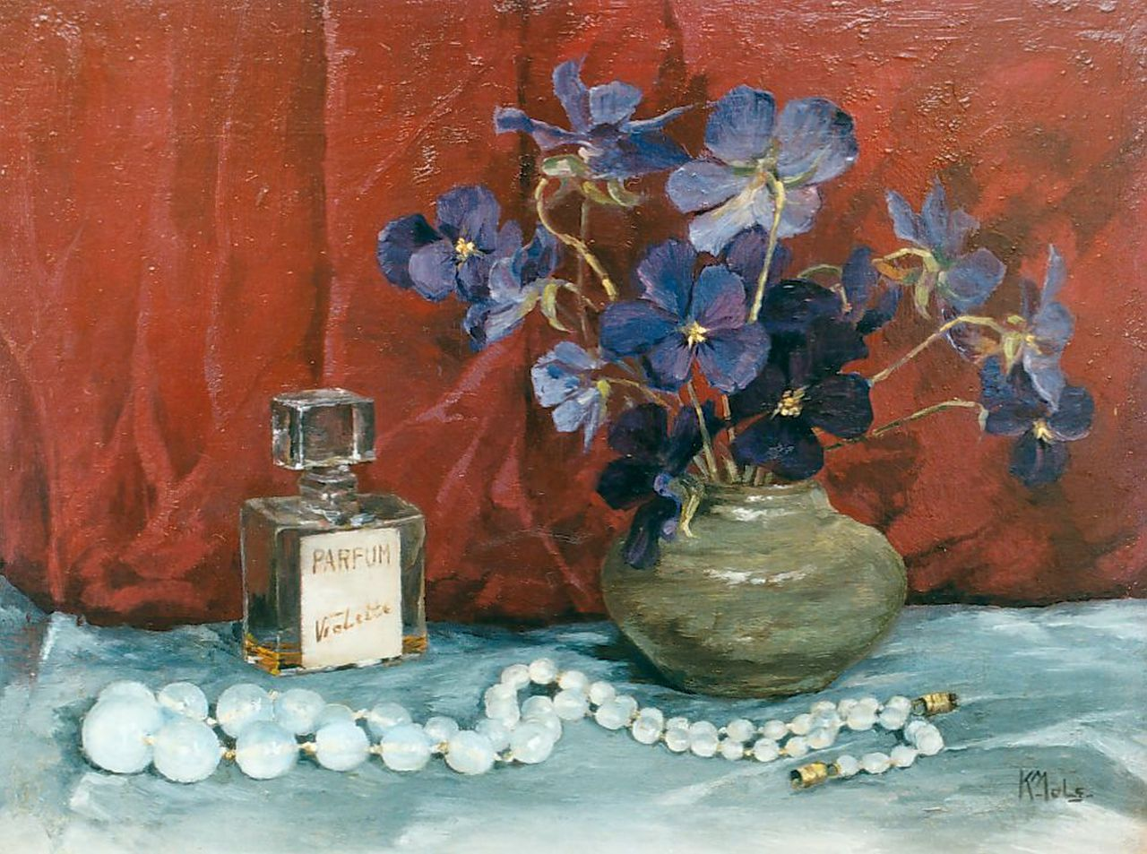 Karel Mols | Still life with violets and a perfume bottle, oil on panel, 18.5 x 24.5 cm, signed l.r.