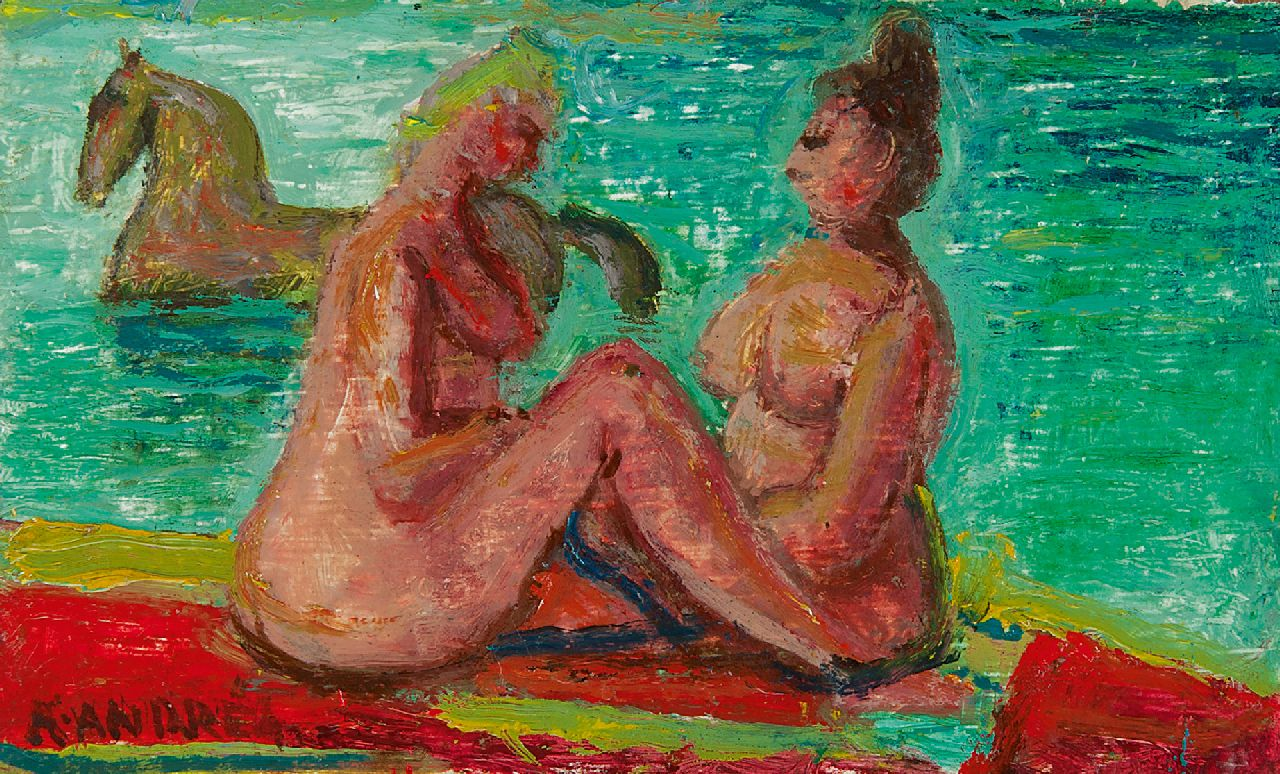 Andréa C.  | Cornelis 'Kees' Andréa | Paintings offered for sale | Two bathers, oil on panel 11.0 x 18.2 cm, signed l.l.