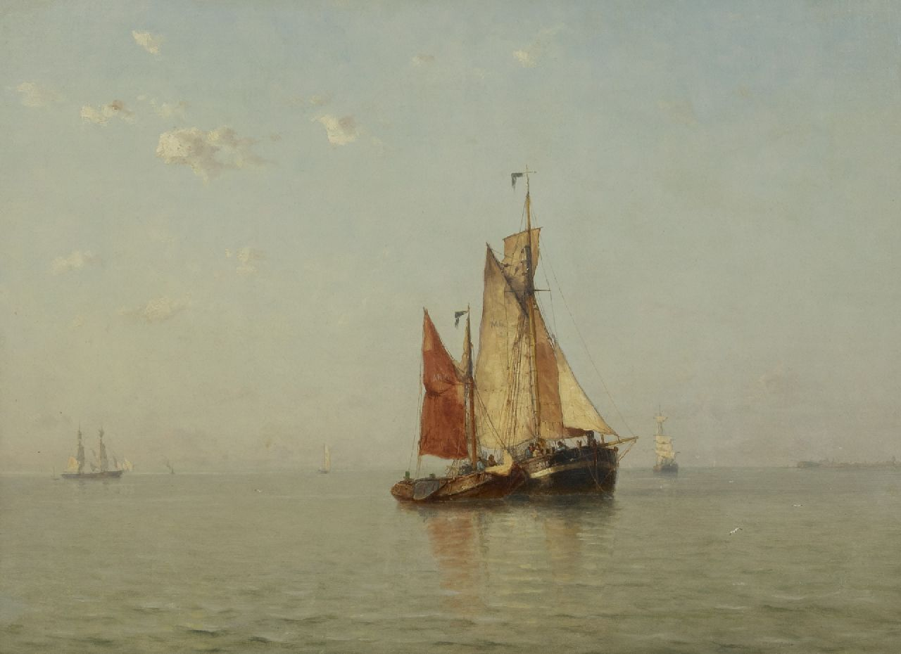Schütz J.F.  | Jan Frederik Schütz | Paintings offered for sale | Sailing ships at anchor on a calm sea, Zeeland, oil on canvas 52.5 x 71.0 cm, signed l.l. and dated '86