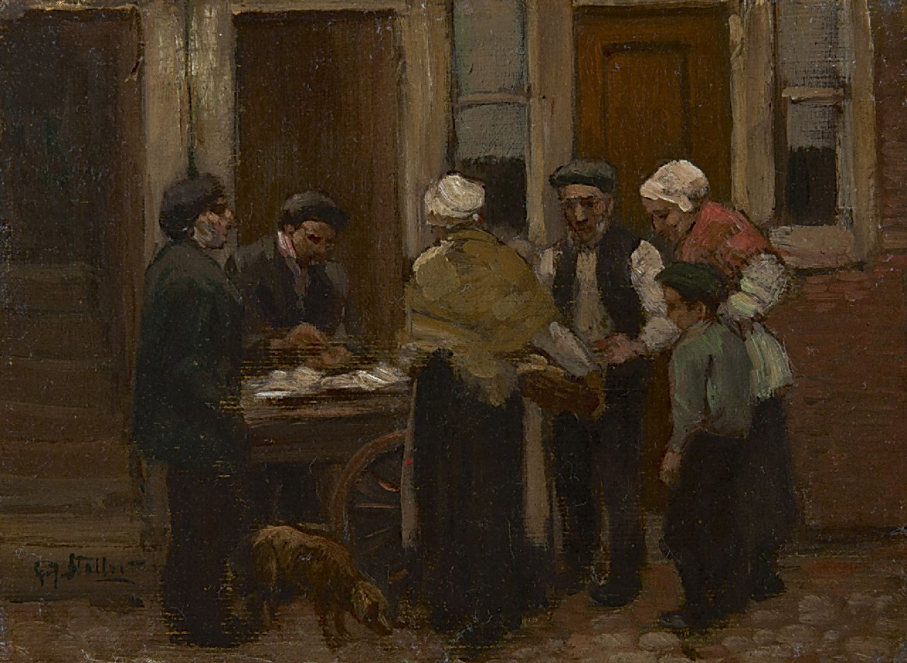Staller G.J.  | Gerard Johan Staller, At the herring stall, oil on canvas laid down on board 12.2 x 15.7 cm, signed l.l.