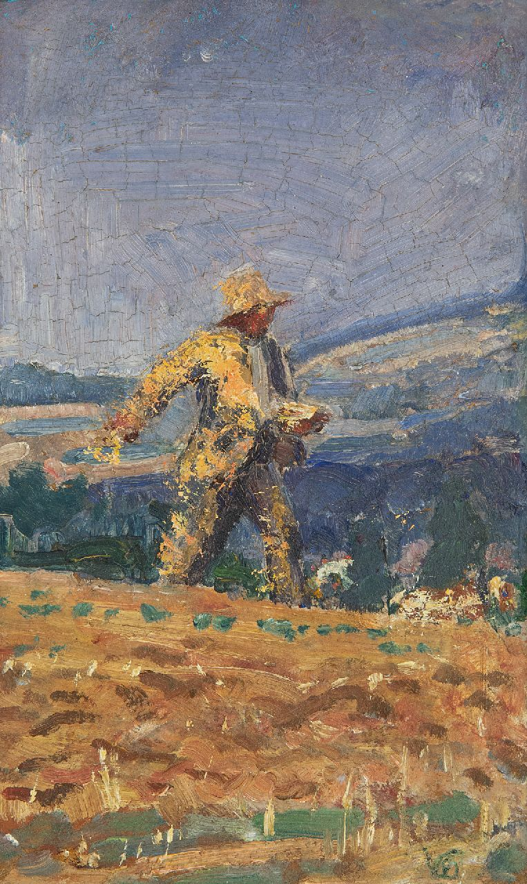 Westermann G.B.J.  | Gerhardus Bernardus Josephus 'Gerard' Westermann | Paintings offered for sale | The sower, oil on board 18.1 x 10.9 cm, signed l.r. with monogram