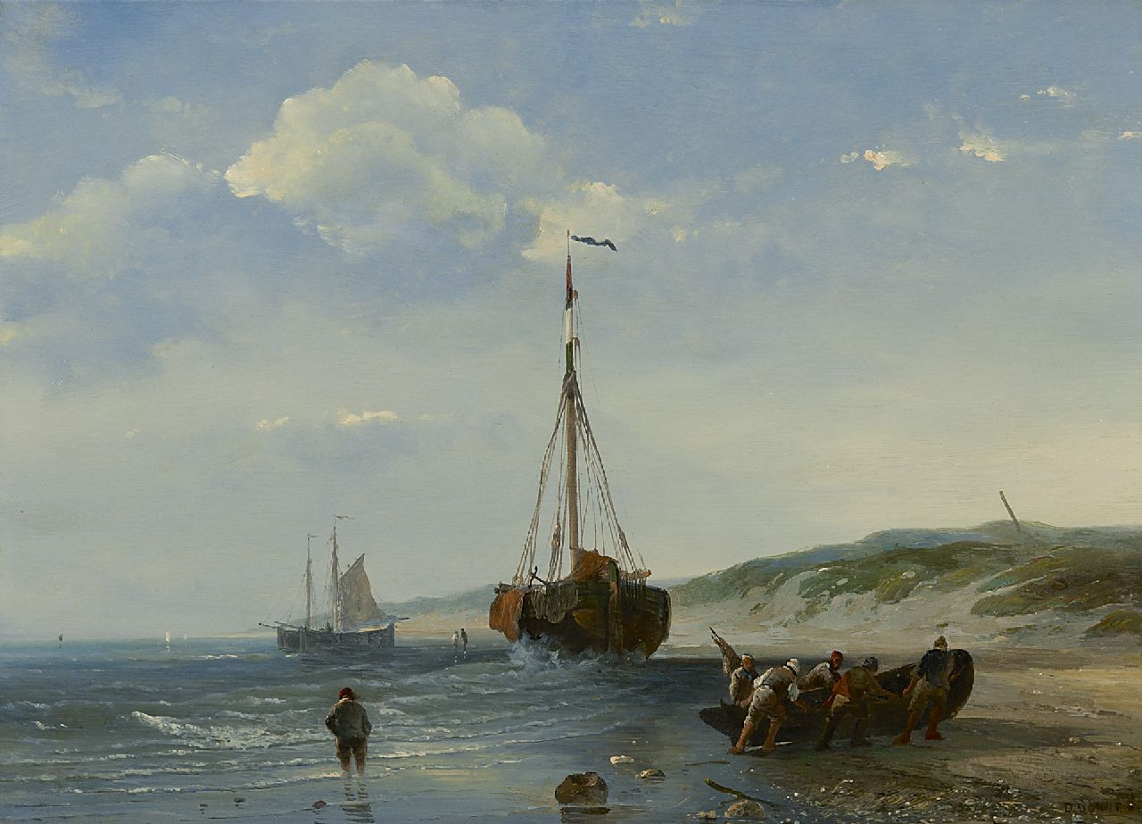 Desiré Donny | Fishing boats at low tide, oil on panel, 25.4 x 35.2 cm, signed l.r.