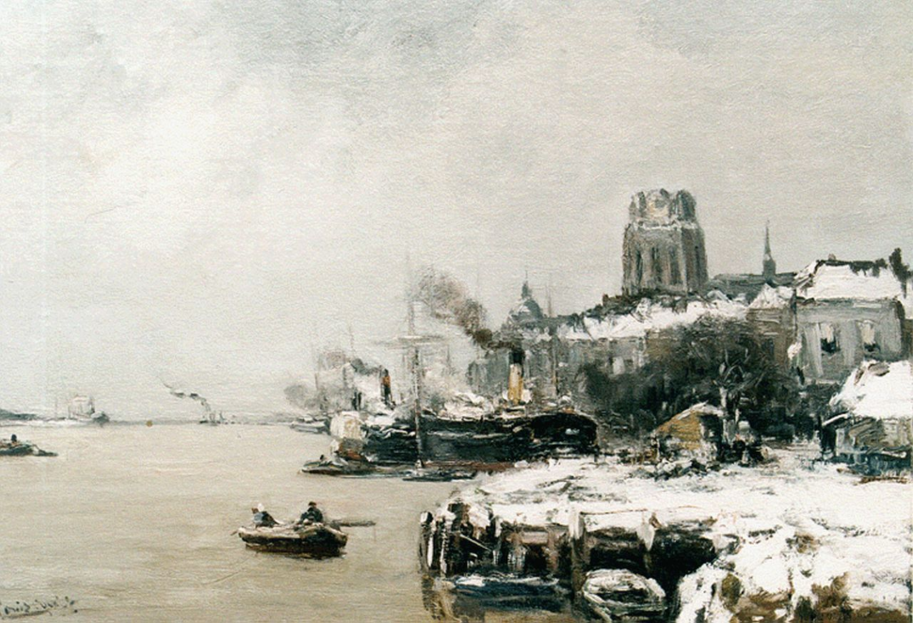 Apol L.F.H.  | Lodewijk Franciscus Hendrik 'Louis' Apol, A view of Dordrecht in winter, oil on canvas 44.7 x 60.0 cm, signed l.l.