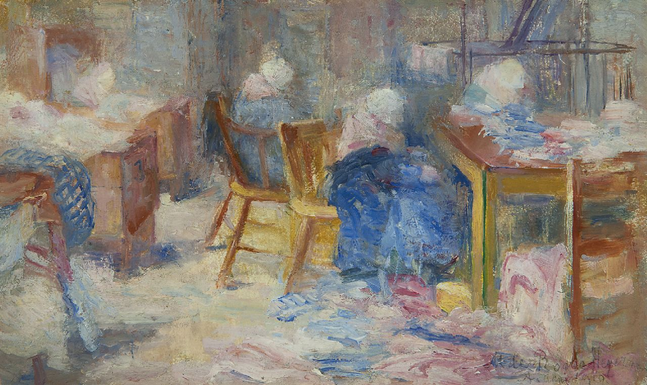 Marie Heijermans | The laundry, oil on panel, 13.8 x 23.6 cm, signed l.r. and dated 'A'dam' 1910