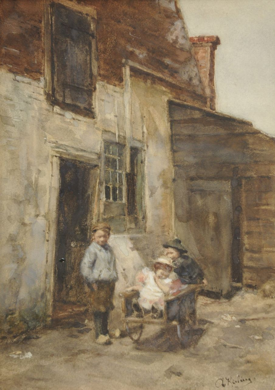 Anna Elisabeth Kerling | Children playing with a wheelbarrow, watercolour on paper, 38.4 x 27.6 cm, signed l.r.