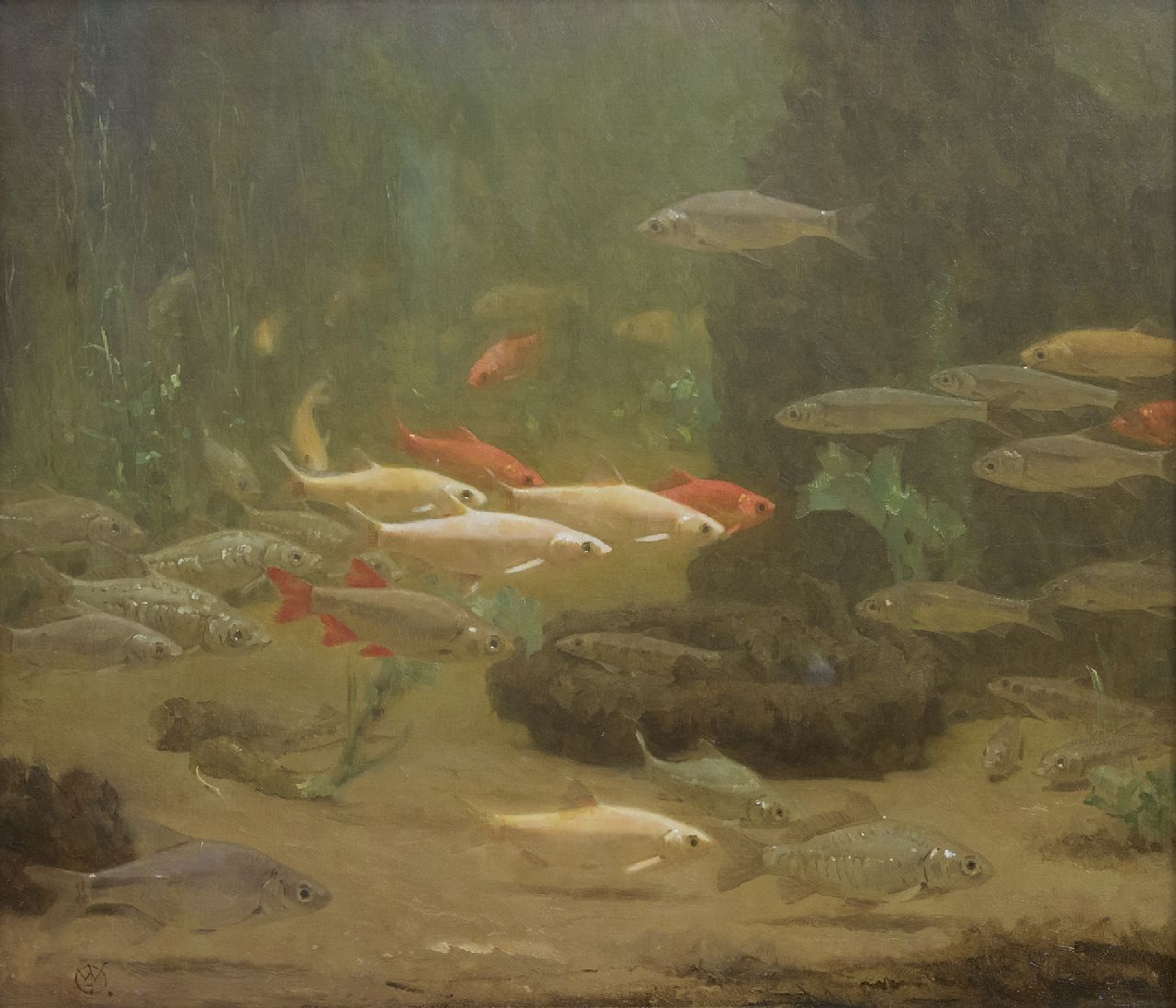 Dijsselhof G.W.  | Gerrit Willem Dijsselhof | Paintings offered for sale | Goldfish, oil on canvas 45.0 x 51.0 cm, signed l.l. with Monogram