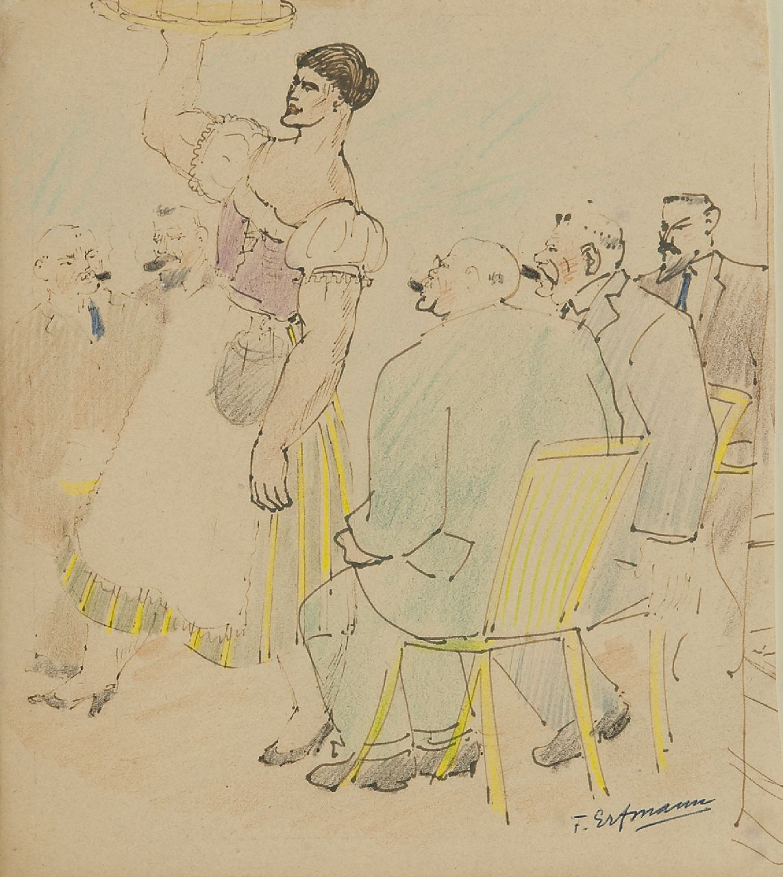 Erfmann F.G.  | 'Ferdinand' George Erfmann | Watercolours and drawings offered for sale | The German waitress, pen, ink and pencil on paper 21.0 x 18.9 cm, signed l.r.