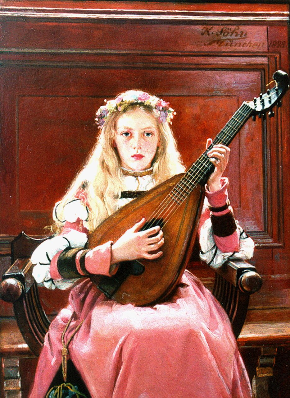 Karl Sohn | A girl with a lute, oil on panel, 18.0 x 13.7 cm, signed u.r. and dated 1898