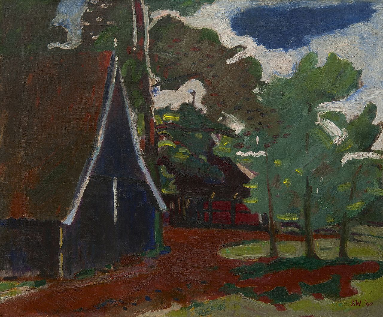 Wiegers J.  | Jan Wiegers | Paintings offered for sale | A farm in Twente, oil on canvas 45.4 x 55.7 cm, signed l.r. with initials and on the stretcher in full and dated '40