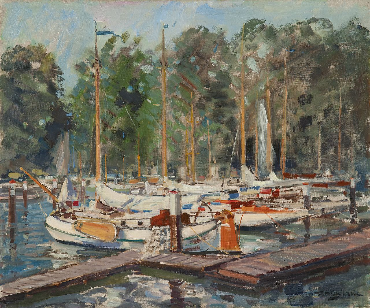 Mühlhaus D.  | Daniël 'Daan' Mühlhaus | Paintings offered for sale | Moored yachts in the harbour of the KDRZV Dordrecht, oil on canvas 50.0 x 60.2 cm, signed l.r.