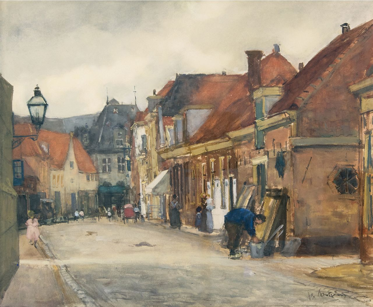 Arntzenius P.F.N.J.  | Pieter Florentius Nicolaas Jacobus 'Floris' Arntzenius | Watercolours and drawings offered for sale | A street in Hoorn with the Kaaswaag in the distance, watercolour on paper 39.0 x 46.5 cm, signed l.r. and painted August 1905