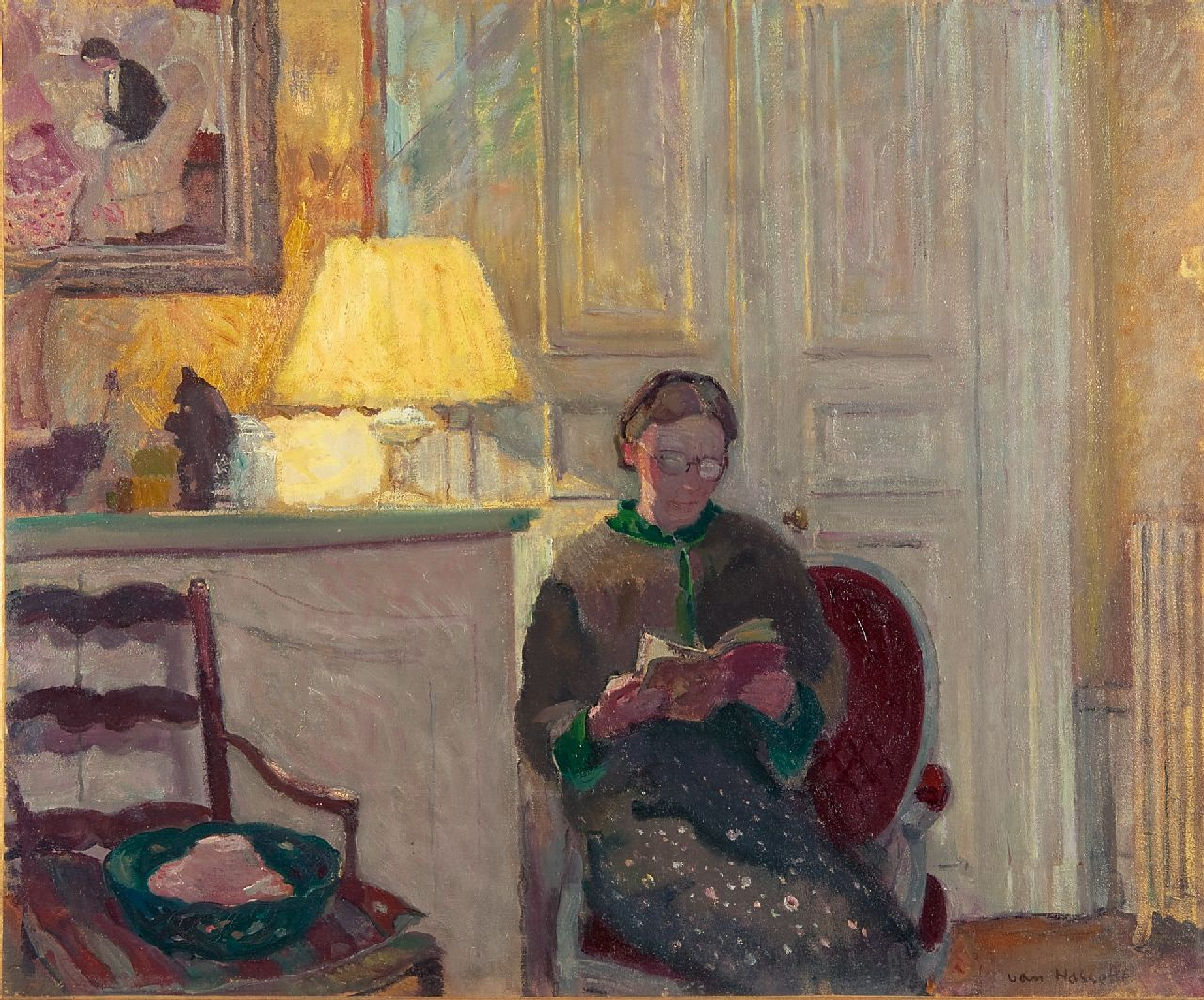 Willem van Hasselt | A woman reading in a Paris interior, oil on canvas, 60.0 x 73.0 cm, signed l.r.