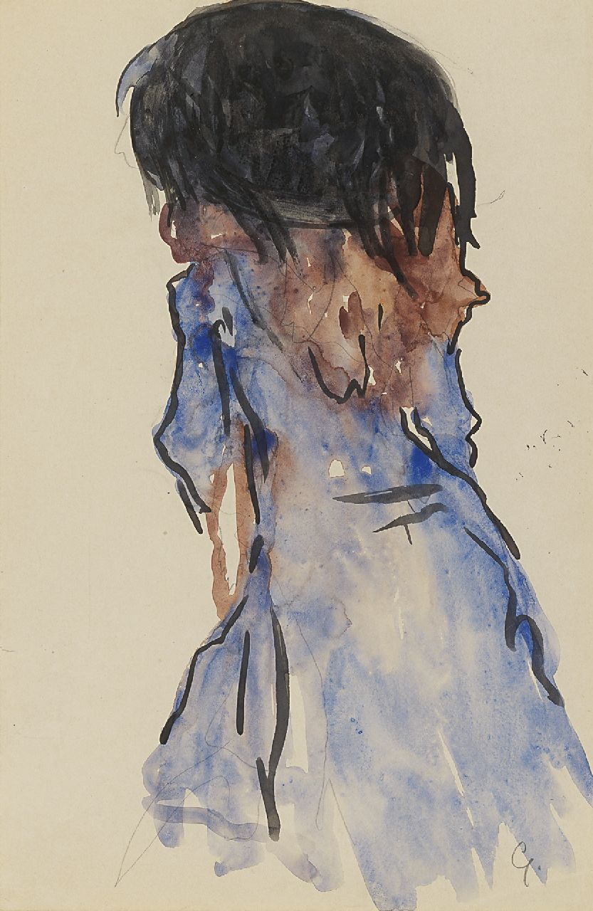 Gestel L.  | Leendert 'Leo' Gestel | Watercolours and drawings offered for sale | An elegant lady, seen from the back, pencil and watercolour on paper 30.5 x 20.2 cm, signed l.r. with initial and painted circa 1908