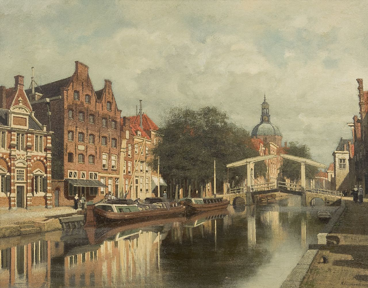 Klinkenberg J.C.K.  | Johannes Christiaan Karel Klinkenberg | Paintings offered for sale | A view of Leiden with the Oude Rijn and the Marekerk, oil on panel 39.3 x 51.0 cm, signed l.r.