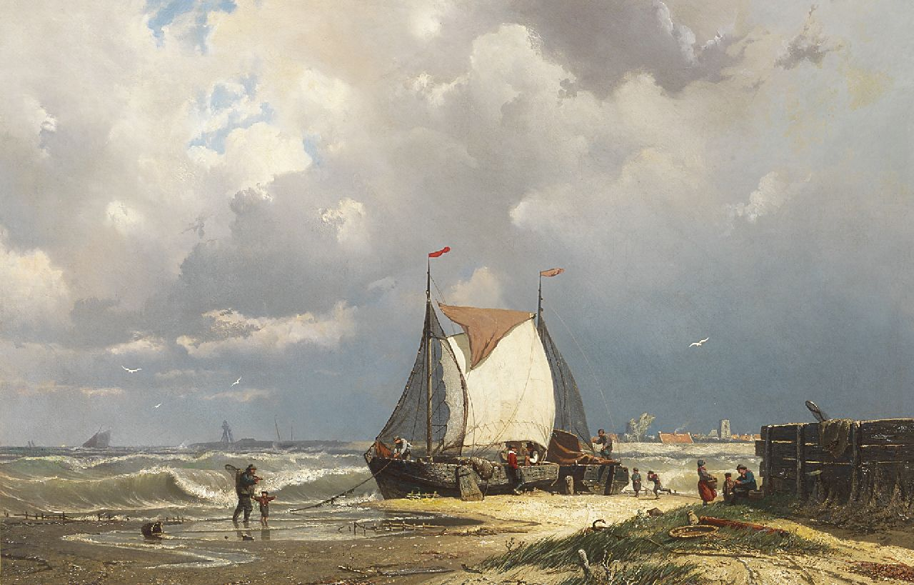 Greive J.C.  | Johan Conrad 'Coen' Greive | Paintings offered for sale | Barges near Uitdam, the tower of Ransdorp in the distance, oil on canvas 55.8 x 85.5 cm, signed l.l.