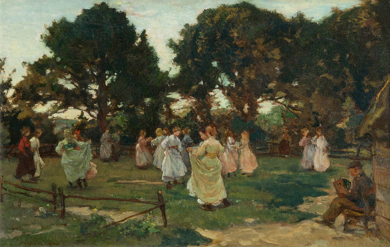 Akkeringa J.E.H.  | 'Johannes Evert' Hendrik Akkeringa | Paintings offered for sale | May dance (Wolfheze), oil on panel 29.4 x 46.7 cm, signed l.l. and painted ca. 1906
