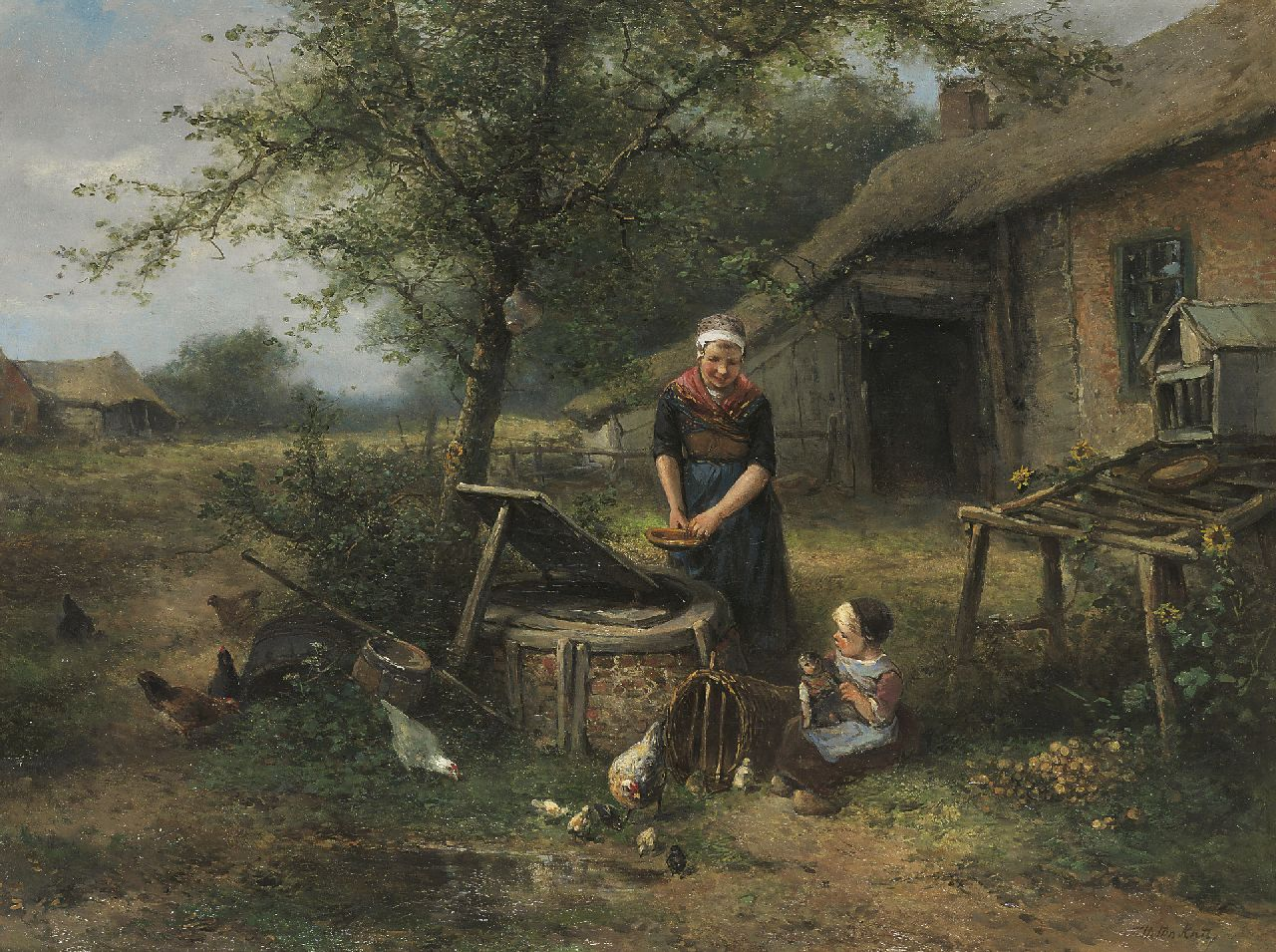 Kate J.M.H. ten | Johan 'Mari' Henri ten Kate | Paintings offered for sale | Mother and child near the well, oil on canvas 60.5 x 80.0 cm, signed l.r.