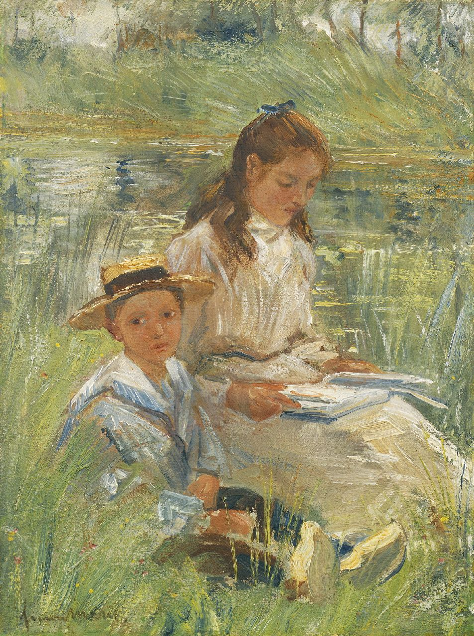 Maris S.W.  | Simon Willem Maris, A summer day, oil on canvas 29.5 x 22.3 cm, signed l.l.