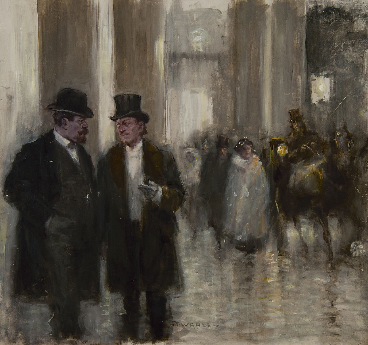 Fritz Wahle | Before the opera, oil on painter's board, 39.5 x 42.7 cm, signed l.c.
