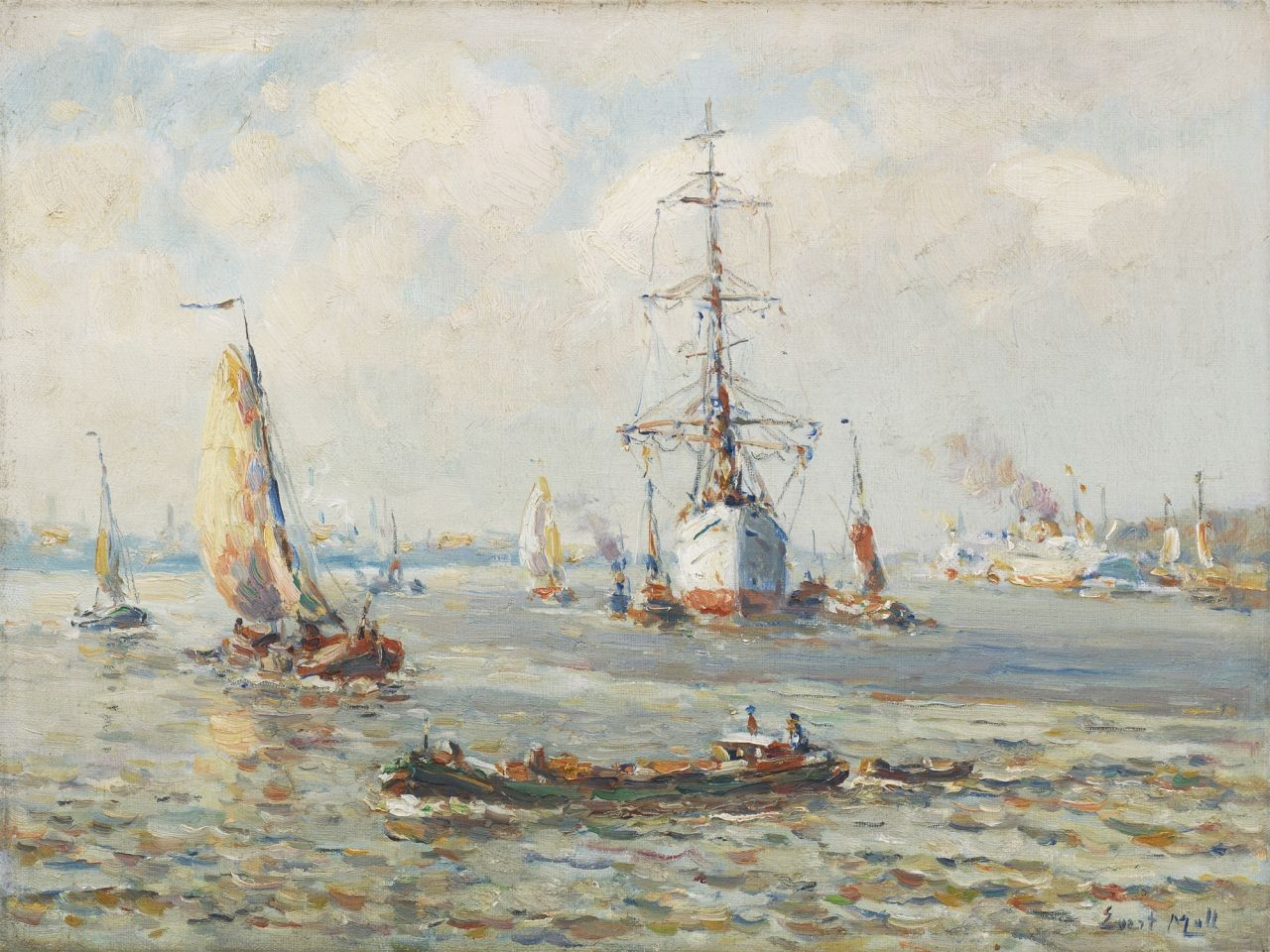 Moll E.  | Evert Moll, A three-master on the Nieuwe Maas near Rotterdam, oil on canvas 30.1 x 40.2 cm, signed l.r.