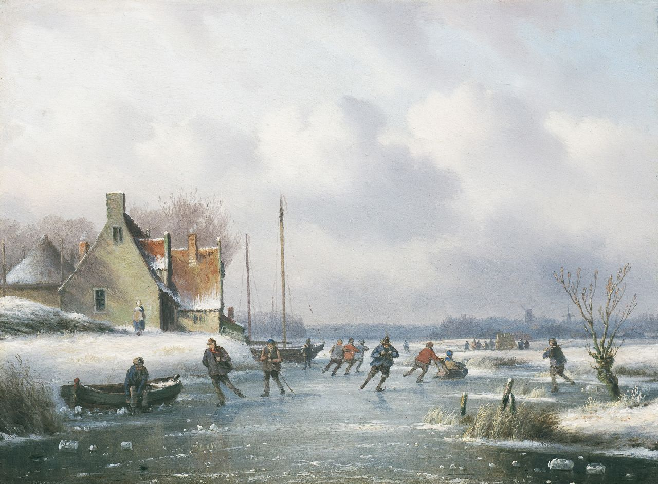 Ahrendts C.E.  | Carl Eduard Ahrendts, Winter landscape with skaters, oil on panel 26.4 x 36.3 cm