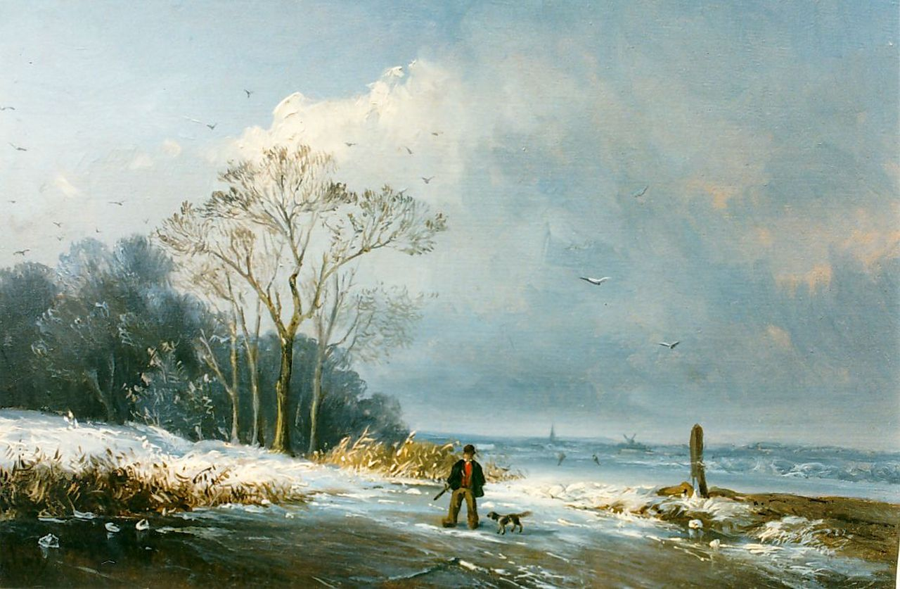 Jacobus Henricus Mulder | A hunter on a frozen river, oil on panel, 17.1 x 23.6 cm