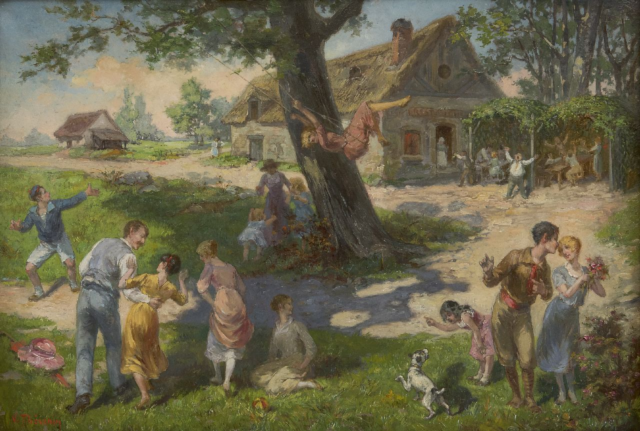Thevenin L.V.  | Louis Victor Thevenin | Paintings offered for sale | Spring in the village, oil on canvas 38.1 x 55.2 cm, signed l.l.