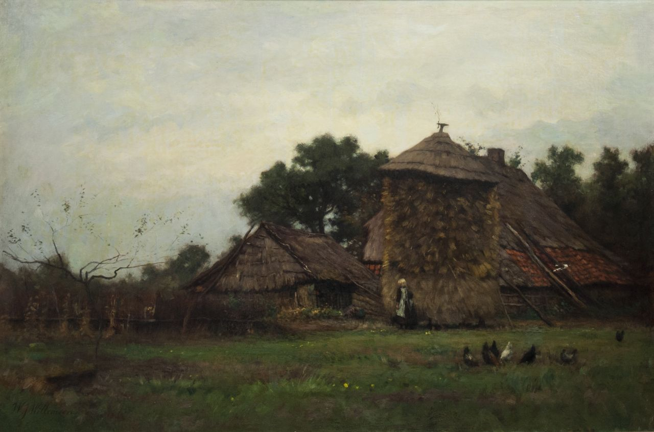 Willemsen W.J.  | Willem Jan Willemsen | Paintings offered for sale | Farm courtyard with a haystack, oil on canvas 50.5 x 75.7 cm, signed l.l.