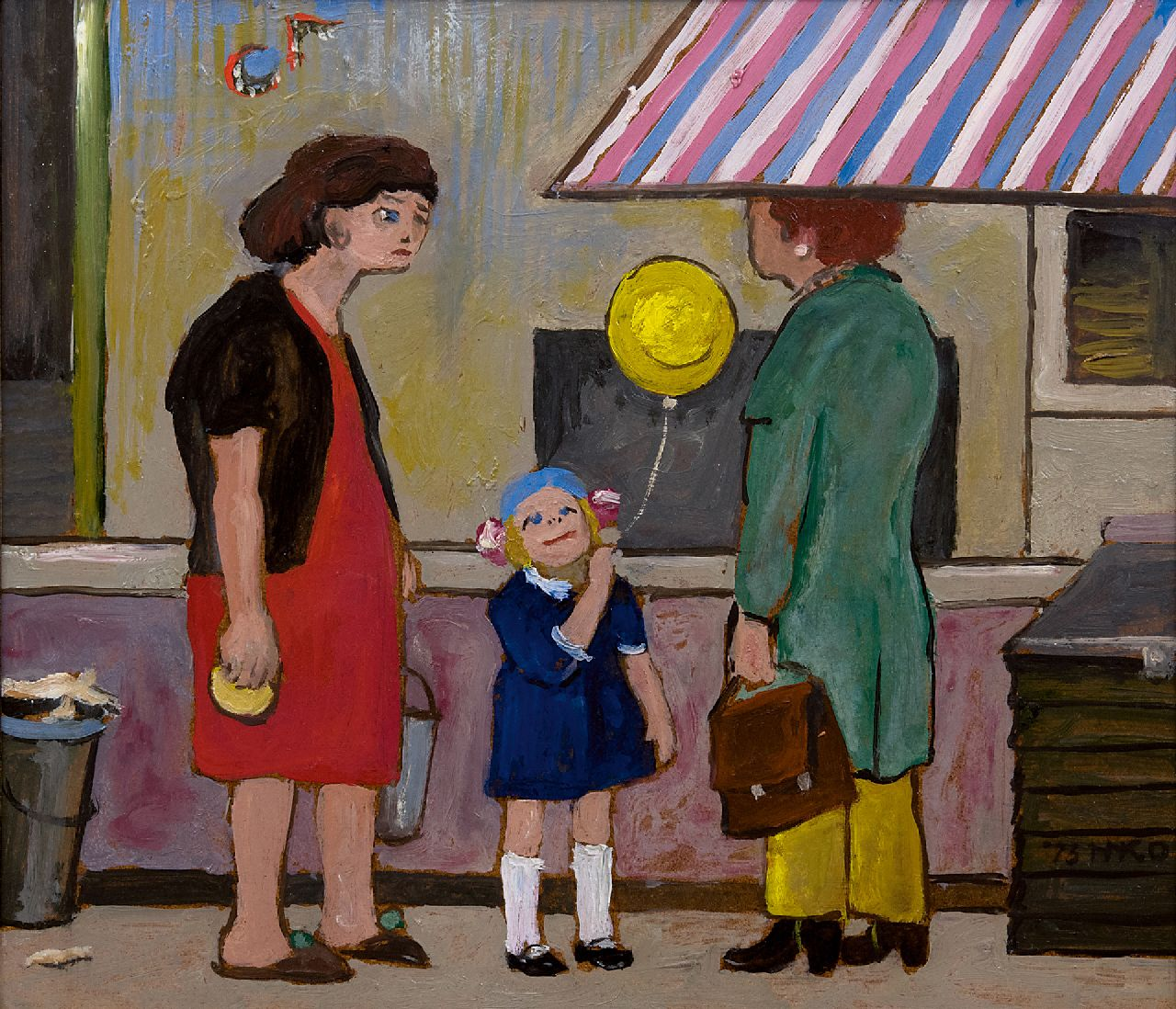 Kamerlingh Onnes H.H.  | 'Harm' Henrick Kamerlingh Onnes | Paintings offered for sale | The yellow balloon, oil on board 26.7 x 31.6 cm, signed l.r. with monogram and dated '73